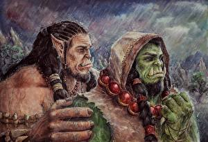 Image Warcraft 2016 Orc Warrior Rain Painting Art Two Hood headgear Durotan, Thrall Fantasy