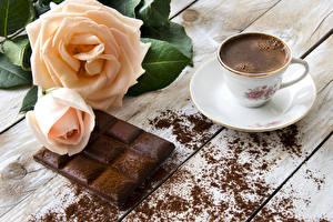 Images Roses Coffee Chocolate Cup Boards Saucer Cocoa solids Food Flowers