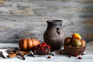 Pictures Still-life Pumpkin Pears Berry Pitcher