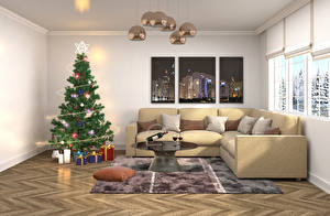 Pictures Holidays Christmas Interior Christmas tree Couch Chandelier Gifts Pillows Fairy lights Carpet Room