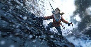 Bilder Rise of the Tomb Raider Sibirien Bergsteigen Lara Croft Felsen Jacke Bergsteiger Spiele Mädchens