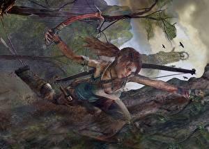 Hintergrundbilder Tomb Raider 2013 Bergsteigen Lara Croft Unterhemd Bergsteiger Spiele Mädchens