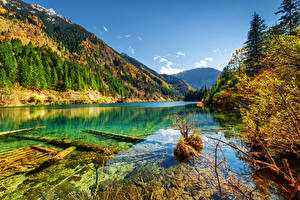 Sfondi desktop Cina Parco Montagna Foreste Autunno Paesaggio Valle del Jiuzhaigou Valley Natura