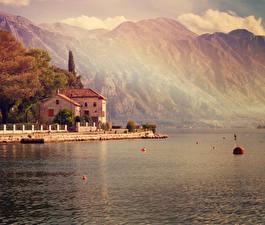 Wallpapers Montenegro Sea Mountains Houses Coast Kotor bay Cities