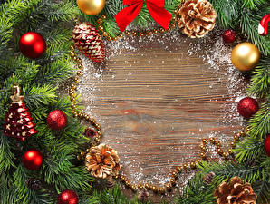 Fotos Feiertage Neujahr Ast Kugeln Zapfen Vorlage Grußkarte