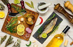 Photo Fish - Food Vegetables Dill Lemons Cutting board Oil Food