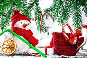 Bilder Feiertage Neujahr Schneemänner Tasse Mütze Ast