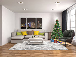 Wallpaper Holidays New year Interior Sofa Carpet Pillows Christmas tree Armchair Present Ceiling Room Window