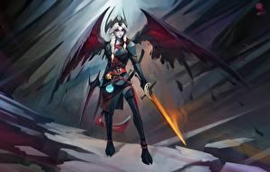 Pictures DOTA 2 Vengeful Spirit Warrior Wings Swords Braid hair vdeo game Fantasy Girls