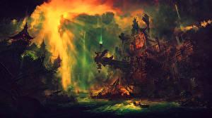 Bakgrundsbilder på skrivbordet Fantastisk värld Borg Fantasy