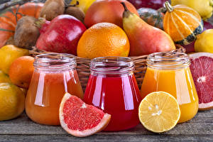 Pictures Juice Citrus Pomegranate Pears Grapefruit Lemons Three 3 Jar
