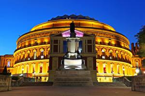 Bilder Vereinigtes Königreich Gebäude Denkmal Abend London Straßenlaterne Royal Albert Hall