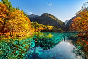 Sfondi desktop Cina Valle del Jiuzhaigou Parchi Fiume Autunno Montagne Valley Natura