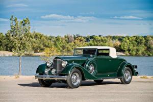 Fotos Antik Grün Metallisch Roadster 1934 Packard Super Eight Coupe Roadster
