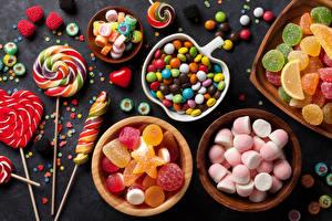 Fotos Süßware Bonbon Viel Marmelade Dauerlutscher Marshmallow candies jelly Lebensmittel