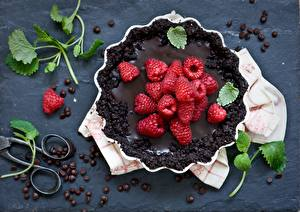 Bilder Backware Obstkuchen Himbeeren Schokolade Kaffee Getreide Blatt Lebensmittel