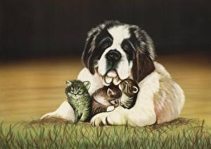 Wallpapers Dogs Cats Painting Art St. Bernard Grass Kittens Animals