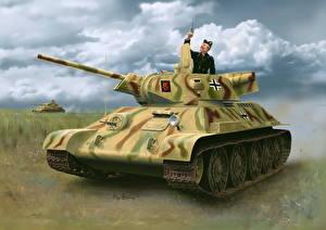 Hintergrundbilder Panzer Gezeichnet T-34 Deutsch Pz.Kpfw. T-34-747(r) STZ Mod.1942 Late Prod.