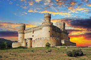 Wallpapers Spain Castles Sky Evening Fortress Clouds Manzanares el Real Castle Cities