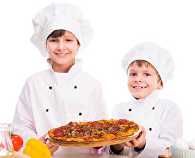 Wallpapers Pizza Boys Two Cook Uniform Winter hat child
