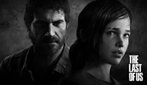 Wallpaper The Last of Us Men 2 Black and white Face Great Grey Owl Ellie, Joel Games Girls