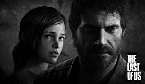 Photo The Last of Us Man Two Black and white Face Beard Moustache Joel, Ellie Games Girls