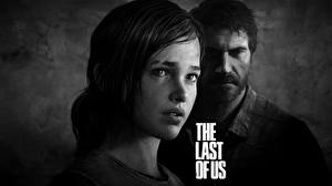 Pictures The Last of Us Men 2 Black and white Face Ellie, Joel Games Girls