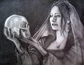 Fotos Schädel Gezeichnet Gothic Fantasy Schwarzweiss Hand Mädchens Fantasy