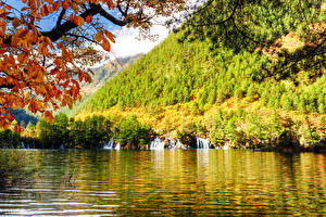 Wallpapers Jiuzhaigou park China Park Autumn River Waterfalls Forests Nature