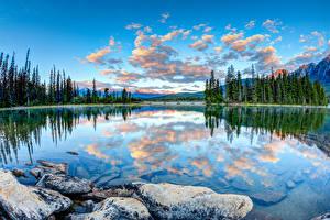 Fotos Kanada Landschaftsfotografie Park See Steine Wolke Jasper park Pyramid Lake Alberta Natur