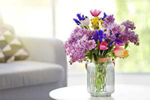 Wallpaper Bouquets Lilac Tulips Vase Jar Flowers