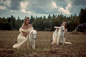 Picture Dogs Blonde girl Two Sighthound Dress Russian hunting sighthound young woman Animals