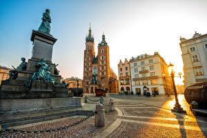 Bilder Polen Haus Denkmal Krakau Abend Platz Straßenlaterne