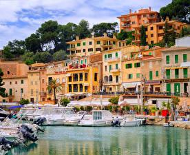 Hintergrundbilder Spanien Gebäude Schiffsanleger Jacht Mallorca Puerto Soller Städte