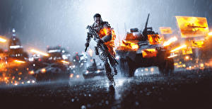 Images Battlefield 4 Soldiers Rain Armoured personnel carrier Running vdeo game