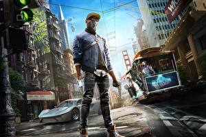 Pictures Watch Dogs 2 Building Man Masks San Francisco Baseball cap Glasses Street Marcus Holloway vdeo game