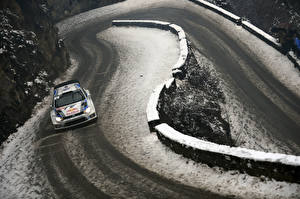 Pictures Roads Winter Volkswagen Snow Rallying WRC Polo Red Bull auto Sport