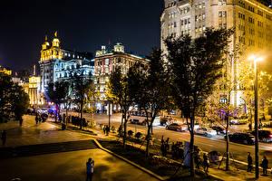 Bilder Hongkong China Gebäude Straße Straßenlaterne Bäume Nacht Städte