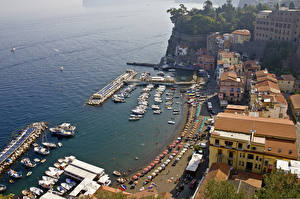 Wallpaper Coast Houses Sea Italy Sorrento Waterfront From above Cities