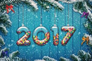 Fotos Feiertage Neujahr Bretter Ast Schnee Schneeflocken 2017 Schleife