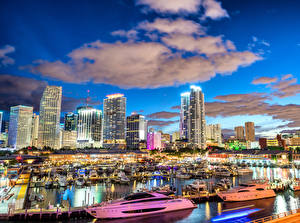 Wallpaper USA Building Marinas Yacht Evening Miami Clouds Cities