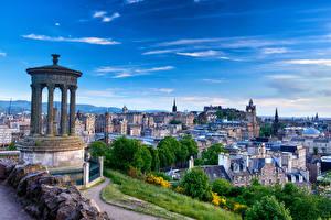 Bilder Schottland Haus Himmel Denkmal Edinburgh Säulen Dugald Stewart Monument