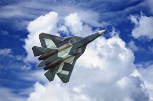 Bilder Flugzeuge Jagdflugzeug Himmel Wolke Flug Russisches Sukhoi PAK FA T-50 Luftfahrt