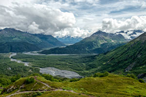 Image Scenery Mountains Meadow Forests Alaska Clouds Seward Nature