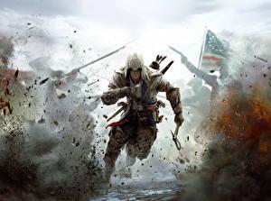 Photo Assassin's Creed 3 Man Warrior Explosions Hood headgear Run Games