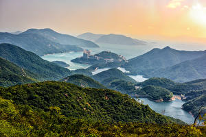 Picture Hong Kong China Scenery Mountains River Forests Nature
