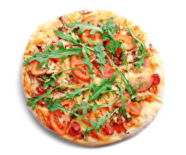 Wallpapers Fast food Pizza Vegetables White background Food