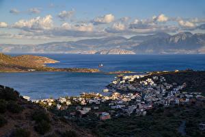 Photo Greece Houses Sea Mountain Clouds Elounda Beach Cities