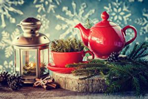Bilder Feiertage Neujahr Kerzen Pfeifkessel Zimt Ast Tasse Laterne