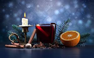Bilder Neujahr Kerzen Getränke Zimt Orange Frucht Schalenobst Ast Trinkglas Lebensmittel